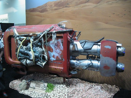 This speeder is used by the character Rey in the upcoming Star Wars film.