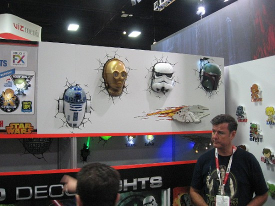 R2-D2, C-3PO, a stormtrooper, Boba Fett and the Millennium Falcon are busting through a wall.