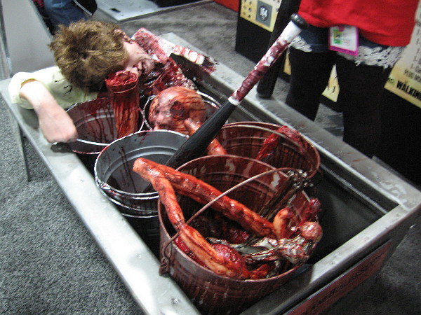 Zombies and the dead are still in fashion. Here are buckets of bloody bones and other gruesome body parts.