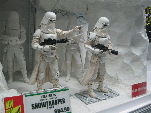Super cool model of Star Wars snowtroopers in an ice cave.
