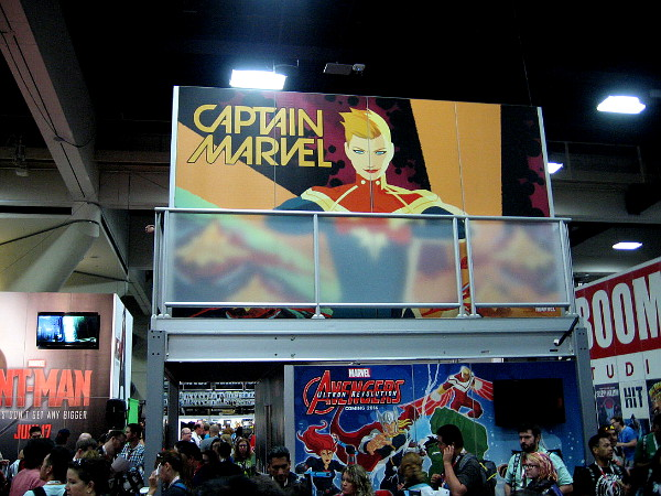 A big Captain Marvel graphic next to an exhibit that promotes Ant-Man, which comes out in a couple weeks. I'm stoked!