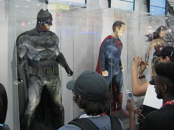DC's big three superheroes on display on the San Diego Convention Center floor. Batman, Superman, Wonder Woman.