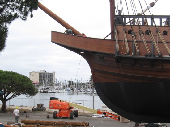 Guys work on the bowsprit in early July 2015. The hope is that San Salvador leads this year's Festival of Sail's parade of tall ships into San Diego Bay!