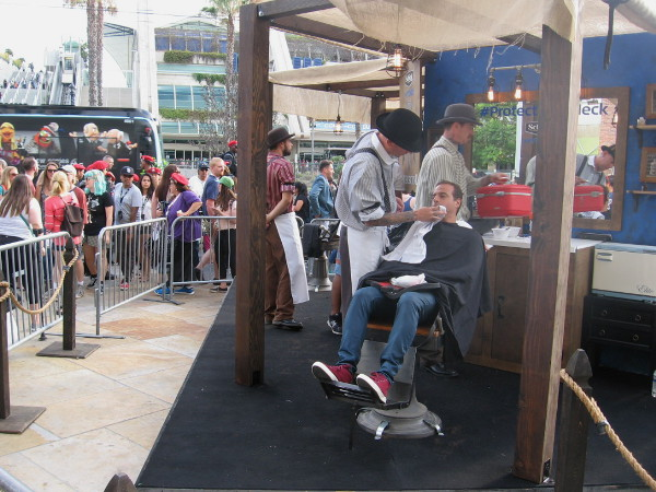 Schick offered free shaves near the Assassin's Creed obstacle course. Schick has partnered with software developer Ubisoft.