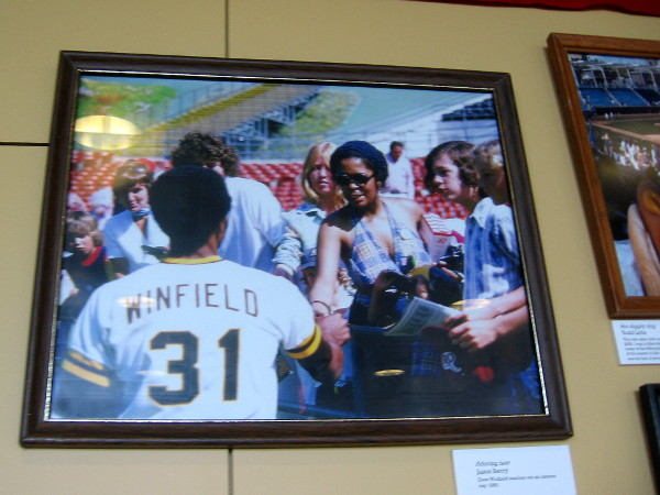 Image of San Diego past superstar Dave Winfield in stadium greeting fans.