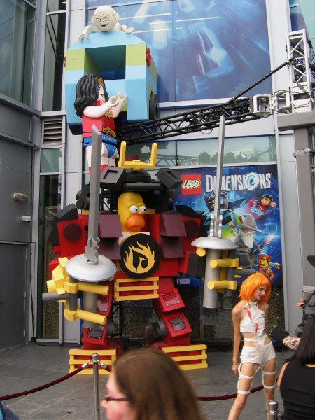 It's LEGO Homer Simpson! He's equipped with some tough-looking Transformer-like armor, which includes Wonder Woman and Gollum on top!