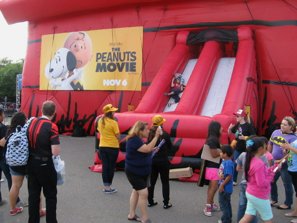 Inflatable slides at the Comic-Con Interactive Zone were set up to promote The Peanuts Movie.