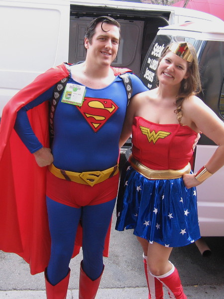 Superman and Wonder Woman are just hanging out like best buddy heroes in the Gaslamp during Comic-Con.