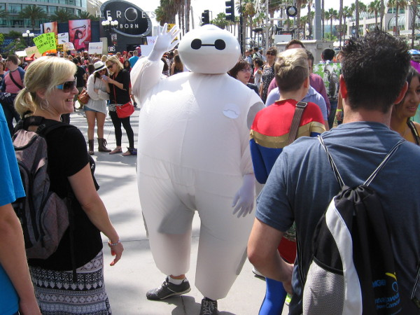 Baymax of Big Hero 6 is walking through the crowd on a beautiful San Diego weekend.