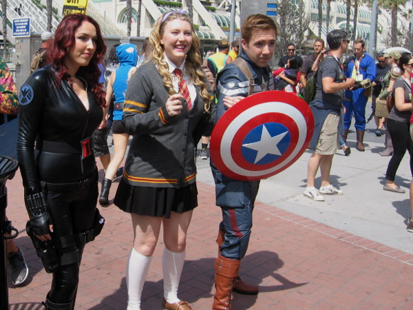 I recognize Black Widow and Captain America, two of Marvel's Avengers.