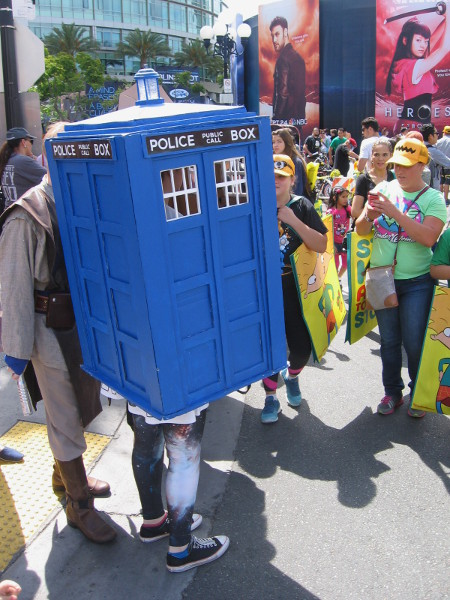 It's a walking TARDIS from Dr. Who at Comic-Con!