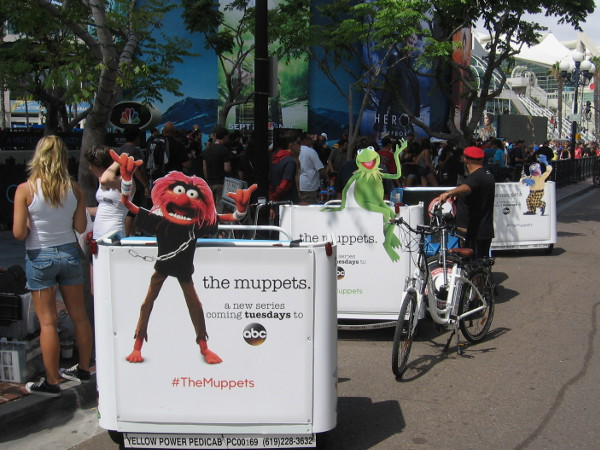 One can ride pedicabs with various Muppet characters!