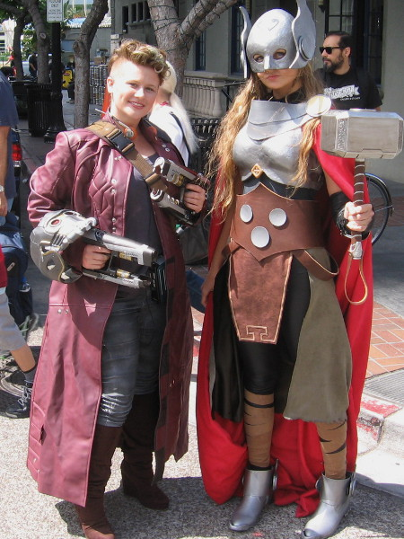 Lady Star Lord and Thor pose for my camera near Petco Park during 2015 Comic-Con.