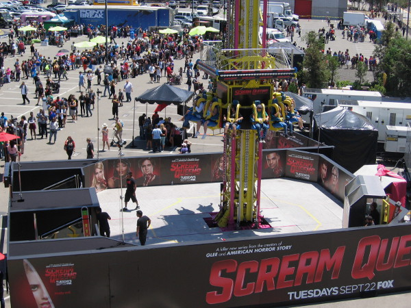 People scream right on cue at the Scream Queens drop amusement ride.