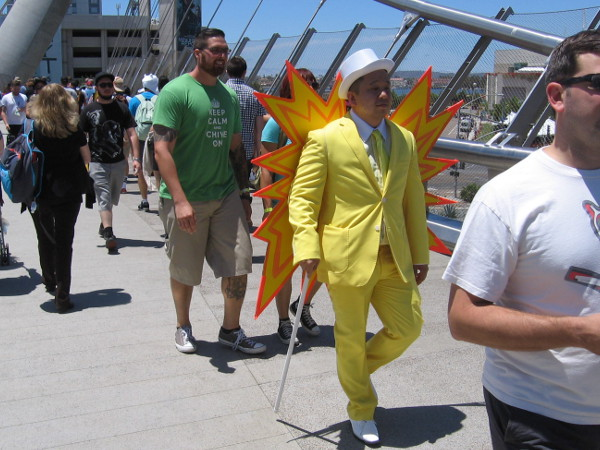 This bright yellow sunny cosplay is Dayman. That sunshine is perfect here in San Diego!