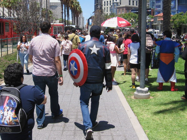 Captain America is walking among happy citizens, protecting all those who are visiting downtown San Diego for Comic-Con.