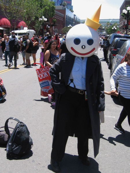 The smiling CEO of Jack in the Box just happened to be walking about the Gaslamp among a bunch of cosplayers.
