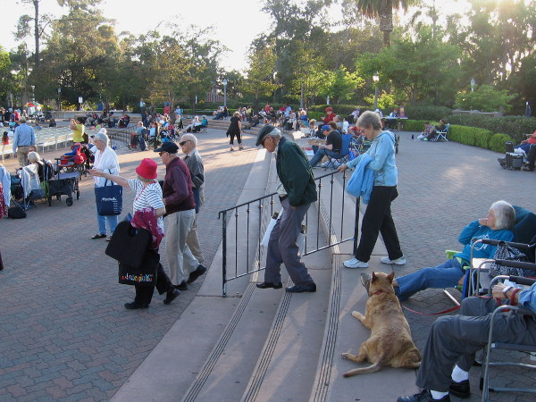 San Diegans filter into the Spreckels Organ Pavilion as evening progresses and daylight fades.