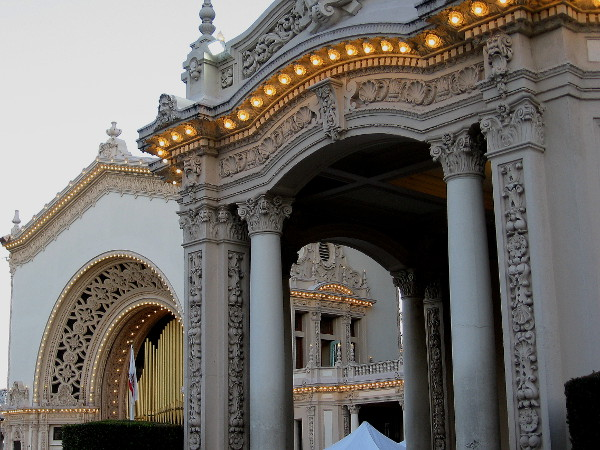 At night, many small lights turn the Spreckels Organ Pavilion into a magical place.