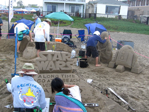 These are my favorite sand sculptures: Star Wars. Chewbacca, R2-D2, stormtroopers, the Millennium Falcon and an X-Wing starfighter. 'Nuff said.