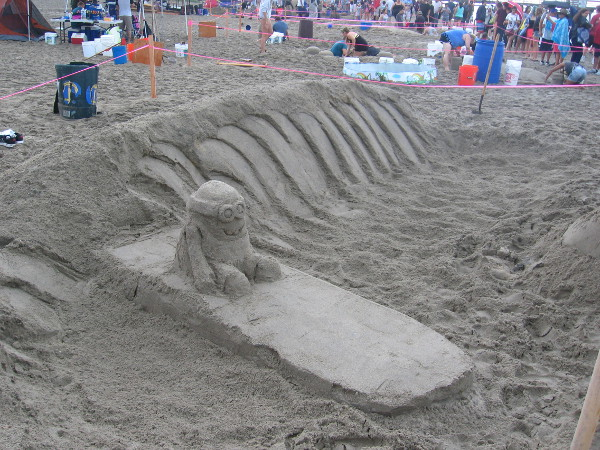 Another team had some Minions, too. This guy is just riding a sand wave on a surfboard. Too bad the sun isn't out.