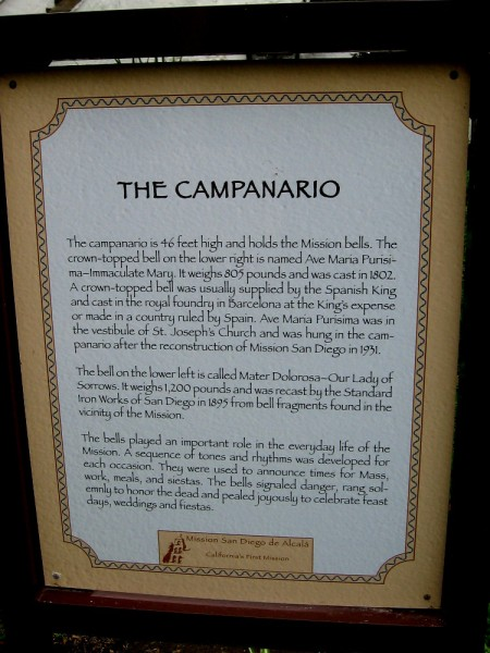 Sign in the mission's garden explains The Campanario. (Click to enlarge.)