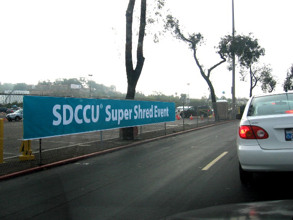 The SDCCU Super Shred Event held in the Qualcomm Stadium parking lot. Unlimited free shredding helps fight identity theft!