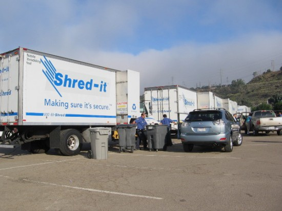 Shred-it, a document destruction and recycling company, had a whole fleet of trucks ready for the big event!