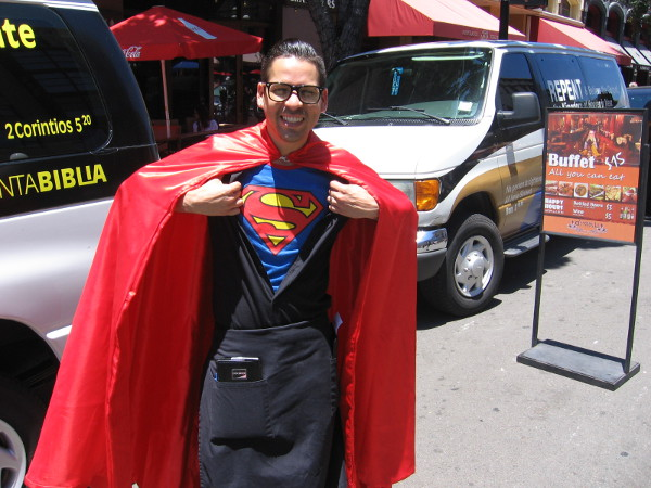 Clark Kent opens up his shirt to reveal the Superman emblem! Another cool sight at 2015 San Diego Comic-Con!