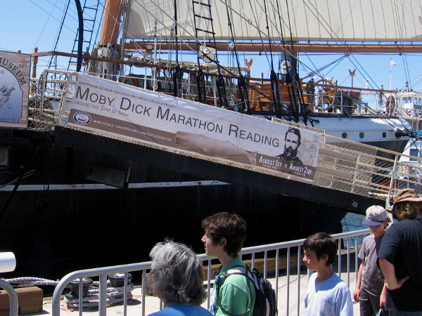 Students prepare to board the Star of India. A cool Moby Dick Marathon Reading is coming next weekend to San Diego's historic tall ship.