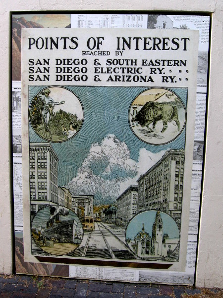 Old poster highlights points of interest reached by past San Diego streetcar and railroad lines. Depicted are orange groves, Mexican bullfighting, an ocean liner and Balboa Park.