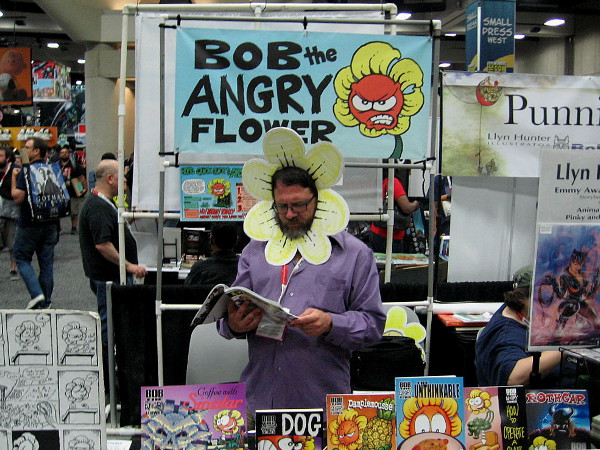 Bob the Angry Flower wasn't too miffed to be captivated by a comic book.