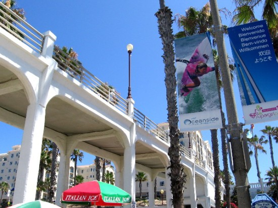 Some surf graphics on a banner hung beneath the Oceanside Pier.