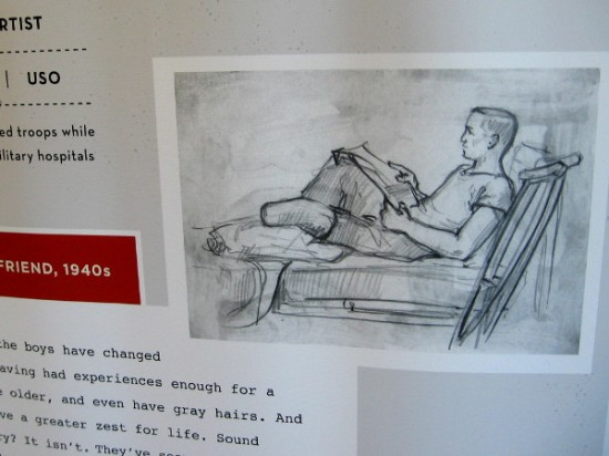 Sketch of servicemember in military hospital with amputated leg, reading or writing a letter.
