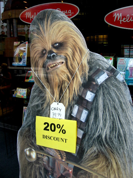 Crown Books in Horton Plaza is where you can buy Chewbacca at a nice discount!