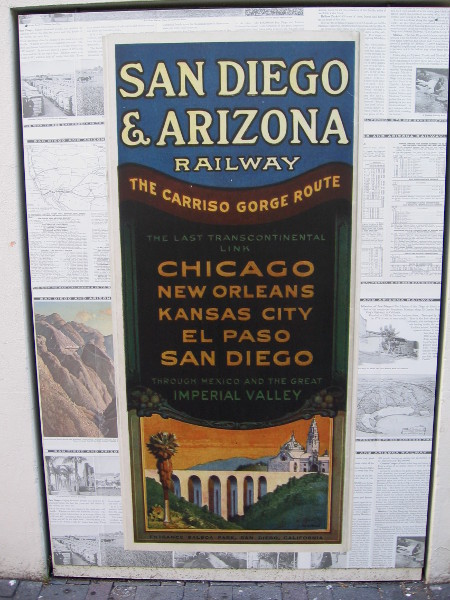 Old advertisement for the San Diego and Arizona Railway, the Carriso Gorge Route, which included possible destinations Chicago, New Orleans, Kansas City, El Paso, San Diego.