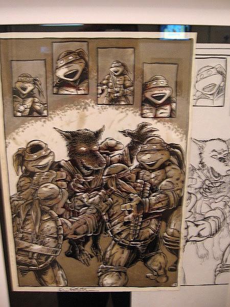 Leonardo, Michelangelo, Raphael, Donatello and Splinter, the Turtles' sensei.