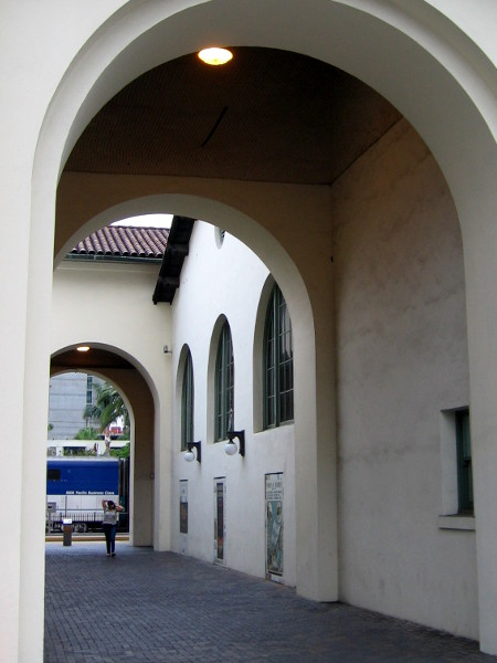 Outdoor passage between the Santa Fe Depot and Museum of Contemporary Art San Diego (MCASD) downtown Jacobs Building, which used to be the historic train station's baggage terminal.