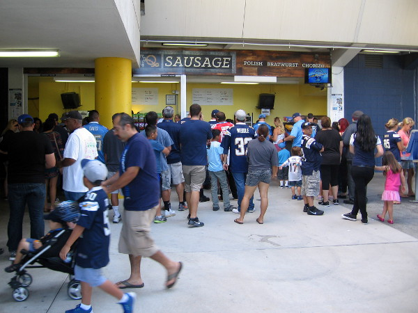 Chargers faithful line up at a concession stand to get ready for an enjoyable FanFest.
