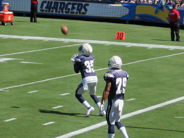 Cornerback Richard Crawford on the Chargers practice squad catches a kicked ball.