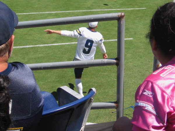 Awesome field goal wizard Nick Novak limbers up his leg with some easy kicks.