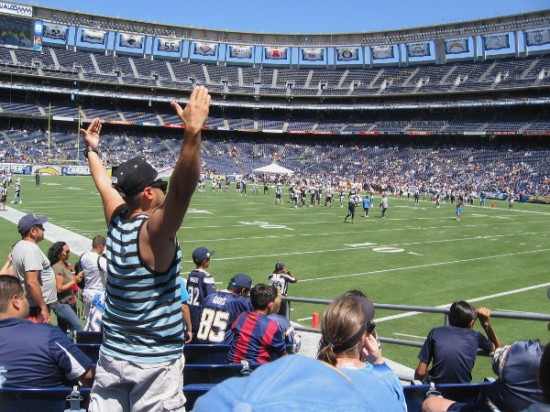 An animated fan in the stands gestures during the preseason practice session.
