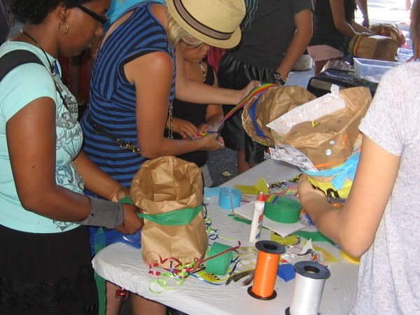 The most crowded tent seemed to belong to the Rad Hatter, where young and old could craft unique paper hats for free.