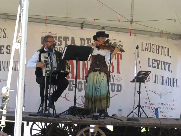 Some lively Irish music dating from the Old West is played during TwainFest on the Fiesta de Reyes stage. Laughter. Levity. Literature.
