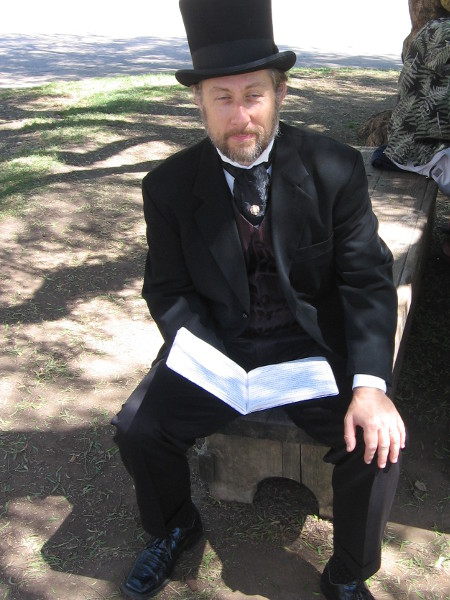 This elegantly-dressed gentleman informed me he would be reading classic fiction to the crowd later today.