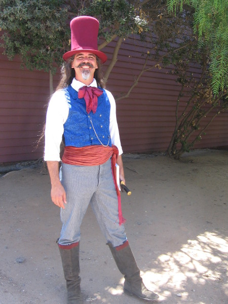 This funny guy said he was a sort-of Mad Hatter with a Bowie knife! He looked more like a 19th century Willy Wonka to me!