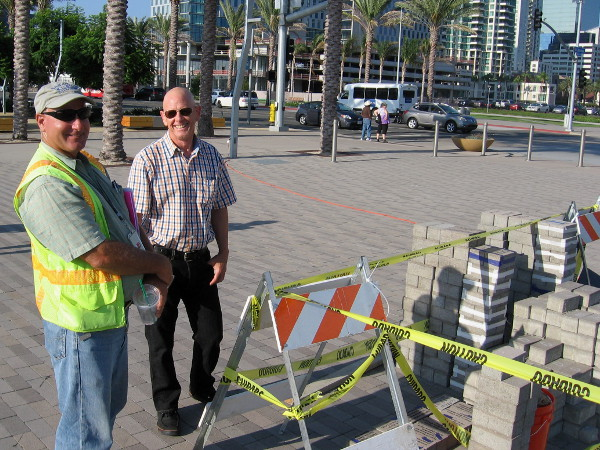 Smiling Port of San Diego guys explained to me a little about this ongoing project. Ultimately, legacy paving blocks will stretch in a band across the entrance to Broadway Pier.