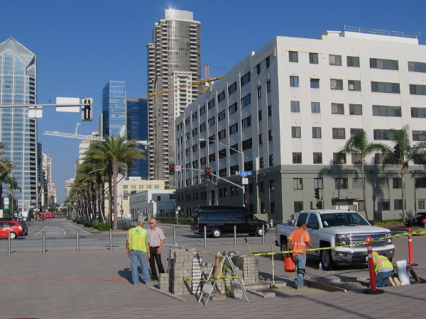 Looking east down Broadway from the foot of the pier, on San Diego's constantly improving, very beautiful Embarcadero.