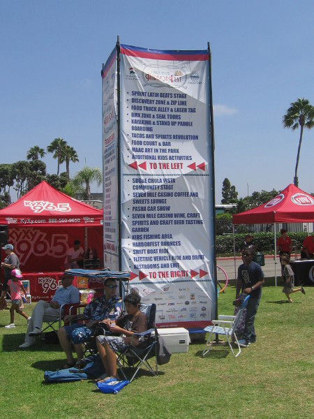 So much was going on at 2015 HarborFest at Chula Vista's Bayside Park, a really big sign was required!