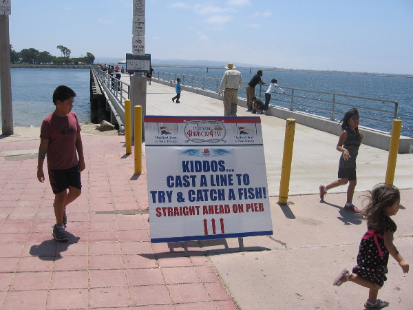 Kids could practice casting a fishing rod from the pier at the south end of Bayside Park.